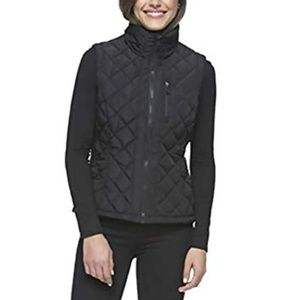 Andrew Marc Diamond Quilted Zip Ribbed-side Vest